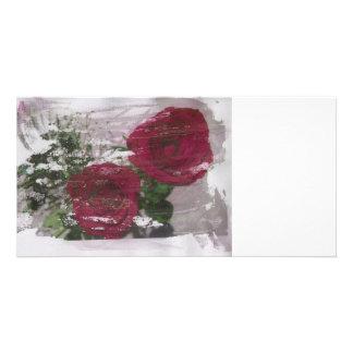 Red rose grunged original design customized photo card