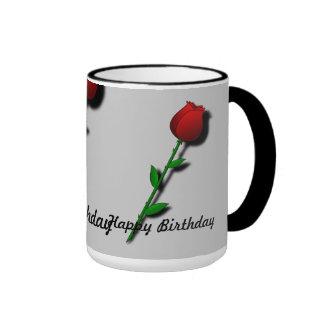 "Red Rose ""Happy Birthday"" Ringer Coffee Mug"