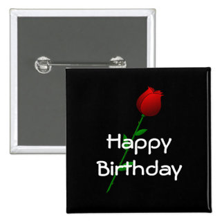 "Red Rose ""Happy Birthday"" Pinback Button"
