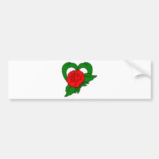 Red Rose Heart Bumper Sticker