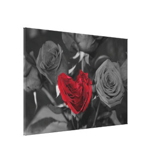 Red Rose Heart Canvas Print