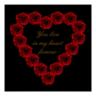 Red Rose heart of love Poster