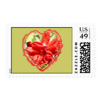 Red Rose Heart Postage Stamp