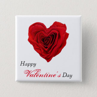 Red Rose Heart Shape - Valentine's Day Button