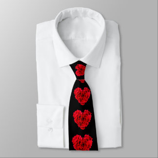 Red rose heart shaped love tie