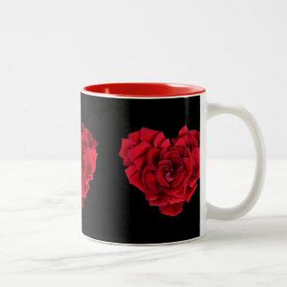 Red Rose Heart Two-Tone Coffee Mug