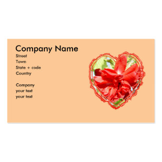 Red Rose Heart Valentine Business Card Template