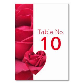 Red Rose Heart Wedding Table Setting Card