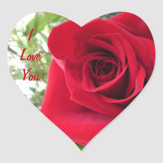 Red Rose I Love You Heart Sticker