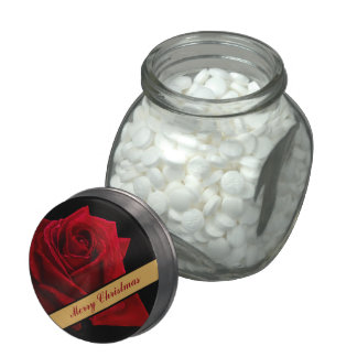 Red Rose Illustration Jelly Belly™ Glass Candy Jars