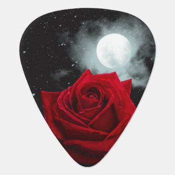 Red Rose Illustration Moon Picks Standard by MoonArtandDesigns at Zazzle