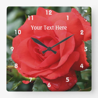 Red Rose In Bloom Flower Square Wall Clock