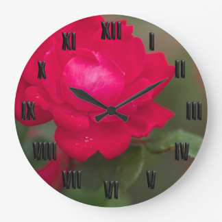 Red Rose in Bloom Morning Dew Black Roman Numeral Large Clock