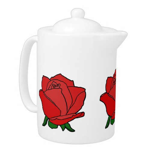 Red Rose in Bloom Teapot