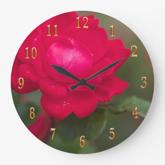Red Rose in Bloom with Morning Dew - Gold Numbers Large Clock