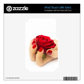Red rose in female hand iPod touch 4G decals