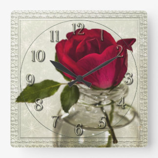 Red Rose in Ink Bottle Square Wall Clock