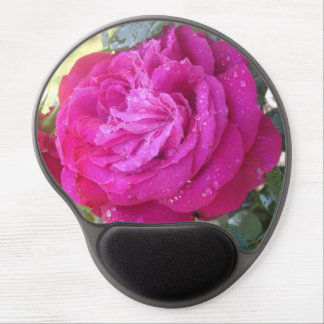 Red Rose in the Rain Gel Mouse Pads