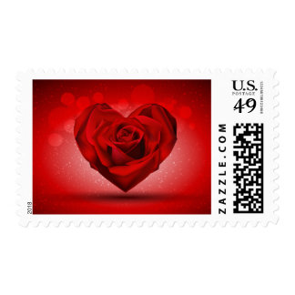 Red Rose in The Shape of Heart over Bright Backgro Postage