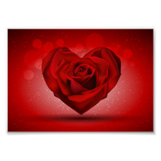 Red Rose in The Shape of Heart over Bright Backgro Poster