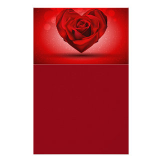 Red Rose in The Shape of Heart over Bright Backgro Personalized Stationery