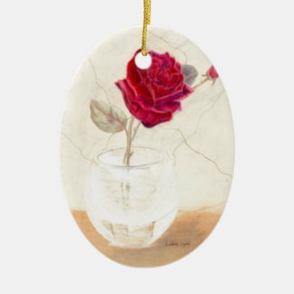 Red Rose in Vase Oval Tree Ornament