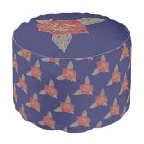 Red Rose Inkblot Drawing Round Pouf