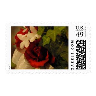 Red Rose, Ivy & Stephanotis Postage Stamps