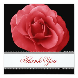RED Rose Lace Ribbon Wedding Thank You Card