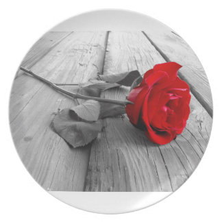 Red Rose Left On The Dock; I Still Love You Party Plates