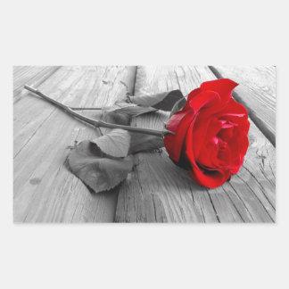 Red Rose Left On The Dock; I Still Love You Rectangular Sticker
