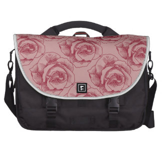 Red Rose Line Drawing Laptop Computer Bag
