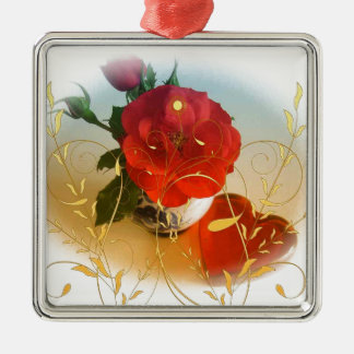 Red rose love hearts and yellow flowers metal ornament