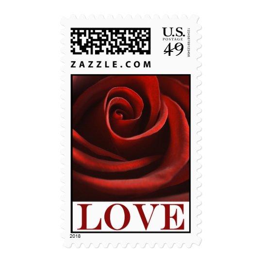 Red Rose Love postage stamp