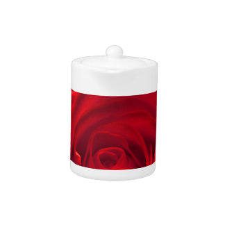 Red rose macro admission teapot