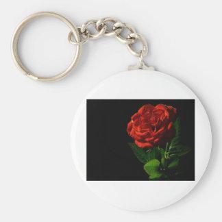 red-rose-macro-still-image-studio-photo basic round button keychain