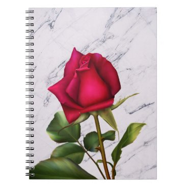 Wedding Themed Red Rose Marble Modern Glam Floral Flower Notebook