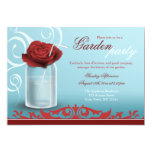 Red Rose Mason Jar Beverage Garden Party Personalized Invite