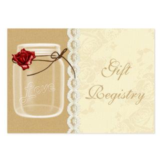 red rose mason jar Gift registry  Cards Large Business Cards (Pack Of 100)