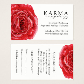 Red Rose Massage Therapist Business Cards