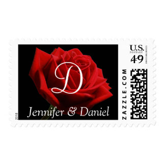 Red Rose Monogram D Wedding Postage Stamps