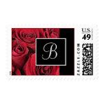 Red Rose Monogram Wedding Postage