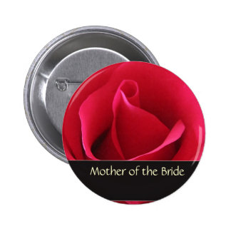 Red rose mother of the bride button