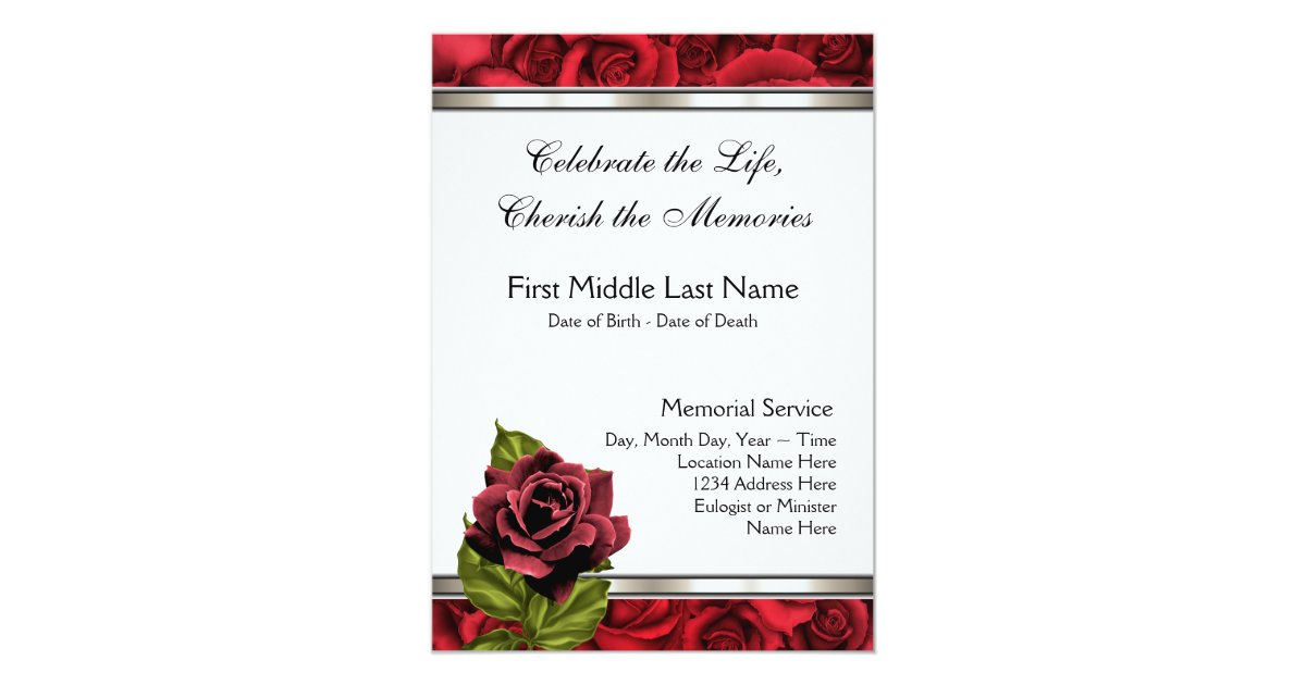 Red Rose Mourning Card Funeral Announcement Zazzle Com