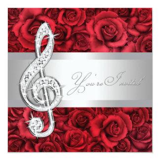 """Red Rose Music Treble Clef Recital Invitations 5.25"""" Square Invitation Card"""