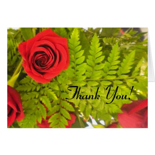 Red Rose N Fern Thank You cards