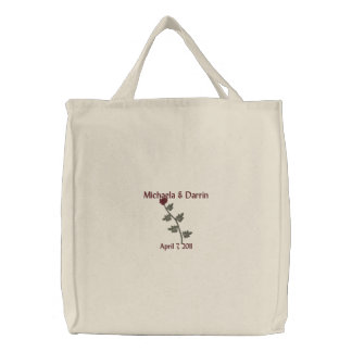 """""""Red Rose"""" Names/Wedding Date {a} Embroidered Tote Bag"""