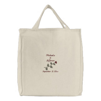 """""""Red Rose"""" Names/Wedding Date [b] Embroidered Tote Bag"""