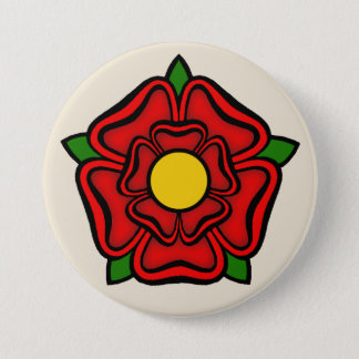 Red Rose of Lancaster, England Emblem of Royalty Button