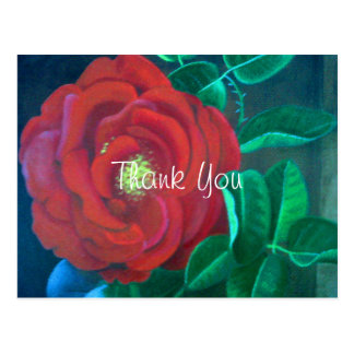 Red Rose Oil Painting Rose Thank You Postcard